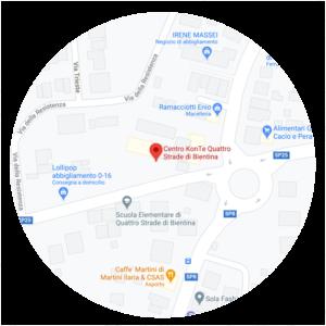 Mappa per raggiungere Centro KonTe Quattro Strade di Bientina